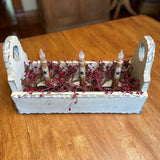 Ivory Flower Box with Timer Taper Candles Ivory Star / Burgundy- Primitive Star Quilt Shop