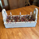 Ivory Flower Box with Timer Taper Candles Ivory Star / Colonial- Primitive Star Quilt Shop