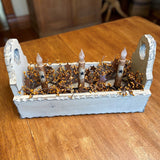 Ivory Flower Box with Timer Taper Candles Ivory Star / Gold- Primitive Star Quilt Shop