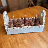 Ivory Flower Box with Timer Taper Candles Mustard / Burgundy and Gold- Primitive Star Quilt Shop