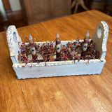 Ivory Flower Box with Timer Taper Candles Mustard Star / Colonial- Primitive Star Quilt Shop