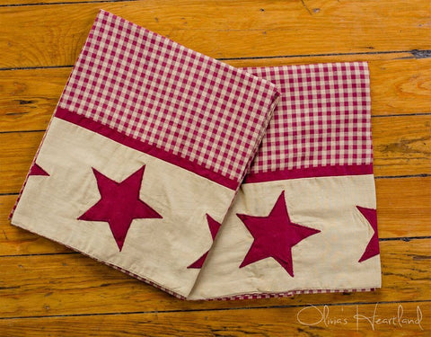 Jamestown Burgundy King Pillow Case - Set of 2 - Primitive Star Quilt Shop