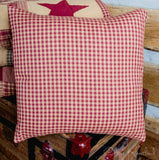 "Jamestown Burgundy Fabric Pillow 16"" Filled - Primitive Star Quilt Shop"