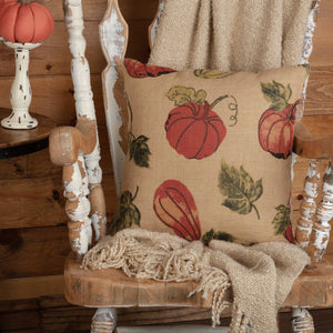 "Burlap Natural Harvest Garden Pillow 18"" Filled"