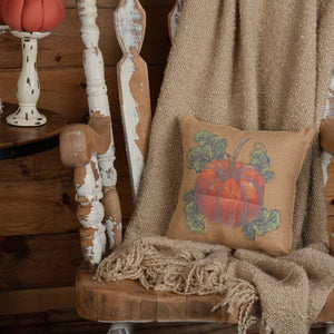 Burlap Natural Harvest Garden Pumpkin Pillow 12""
