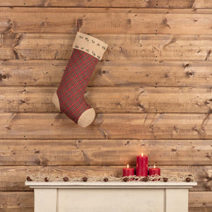 Jute Burlap Poinsettia Stocking 12x20""