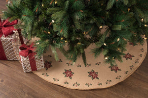 Jute Burlap Poinsettia Tree Skirt 48""