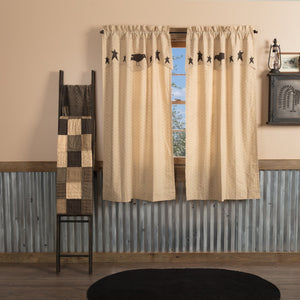 Kettle Grove Lined Short Panels with Attached Applique Valance 63""