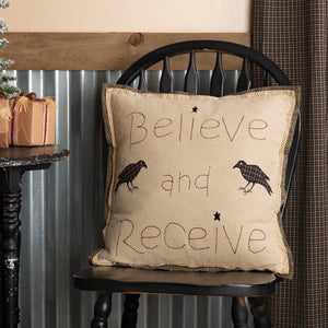 "Kettle Grove Believe and Receive Pillow 18"" Filled"