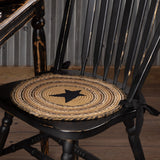 "Kettle Grove Applique Star Braided Chair Pad 15"" - Set of 6 - Primitive Star Quilt Shop"