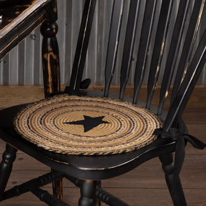 "Kettle Grove Applique Star Braided Chair Pad 15"" - Set of 6"