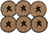 "Kettle Grove Star Braided Coaster 4"" - Set of 6 - Primitive Star Quilt Shop"