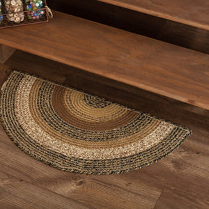 "Kettle Grove Half Circle Braided Rug 16.5x33"" - with Pad"