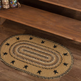 "Kettle Grove Stencil Stars Border Oval Braided Rug 20x30"" - Primitive Star Quilt Shop"