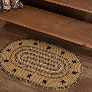 "Kettle Grove Stencil Stars Border Oval Braided Rug 20x30"" - with Pad"