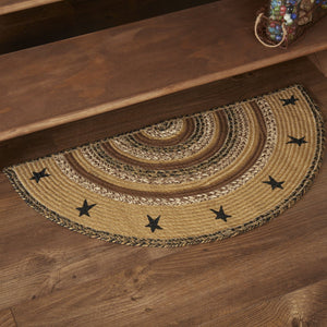 "Kettle Grove Stencil Star Half Circle Braided Rug 16.5x33"" - with Pad"