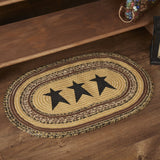 "Kettle Grove Stencil Star Oval Braided Rug 20x30"" - with Pad - Primitive Star Quilt Shop"