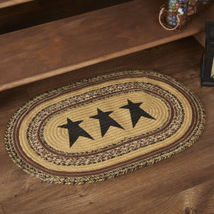 "Kettle Grove Stencil Star Oval Braided Rug 20x30"" - with Pad"
