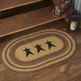 "Kettle Grove Stencil Star Oval Braided Rug 24x36"" - Primitive Star Quilt Shop"