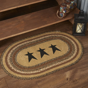 Kettle Grove Stencil Star Oval Braided Rug 24x36""