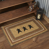 "Kettle Grove Stencil Star Rectangle Braided Rug 24x36"" - with Pad - Primitive Star Quilt Shop"