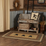 "Kettle Grove Stencil Star Rectangle Braided Rug 36x60"" - Primitive Star Quilt Shop"