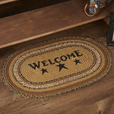 "Kettle Grove ""Welcome"" Oval Braided Rug 20x30"" - Primitive Star Quilt Shop"