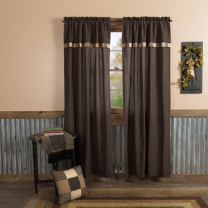 Kettle Grove Lined Panels with Attached Block Border Valance 84""
