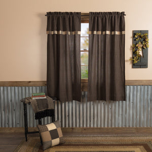 Kettle Grove Lined Short Panels with Attached Block Border Valance 63""