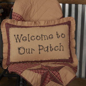 "Landon Welcome to Our Patch Pillow 14x22"" Filled"