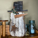 Lath Chubby Snowman with Rusty Star - Primitive Star Quilt Shop