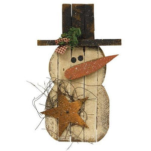 Lath Chubby Snowman with Rusty Star