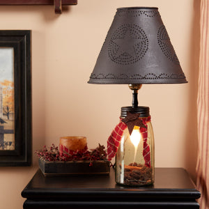 Mason Ball Jar Lamp with Metal Shade