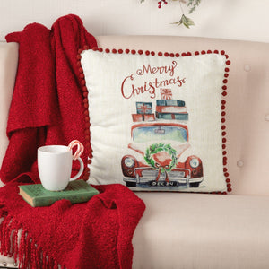 "Merry Christmas Truck Pillow 18"" Filled"