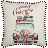 "Merry Christmas Truck Pillow 18"" Filled - Primitive Star Quilt Shop"