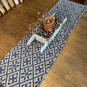 Morning Meadows Navy and Tan Woven Table Runner 56""