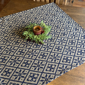 Morning Meadows Navy and Tan Woven Small Table Cloth 34""