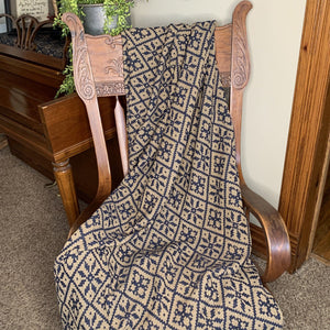 Morning Meadows Navy and Tan Woven Throw