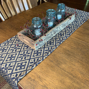 Morning Meadows Navy and Tan Woven Table Runner 72""
