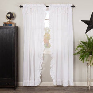 Muslin Ruffled White Panel Curtains 84""