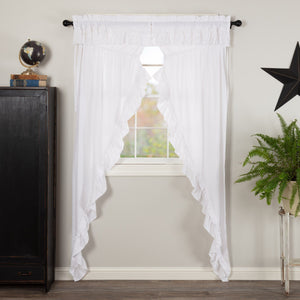 Muslin Ruffled White Long Prairie Curtains 84""