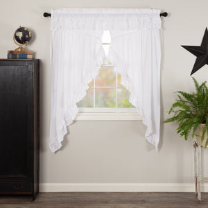 Muslin Ruffled White Prairie Curtains 63""