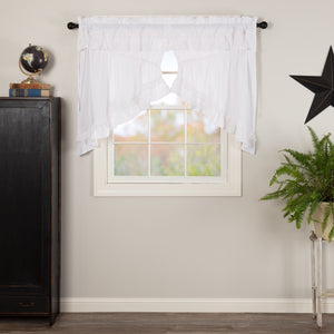 Muslin Ruffled White Prairie Swag Curtains