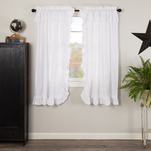 Muslin Ruffled White Short Panel Curtains 63""