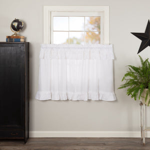 Muslin Ruffled White Tier Curtains 36""