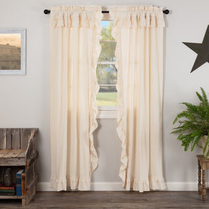 Muslin Ruffled Natural Panel Curtains 84""