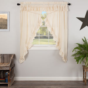Muslin Ruffled Natural Prairie Curtains 63""