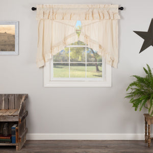 Muslin Ruffled Natural Prairie Swag Curtains