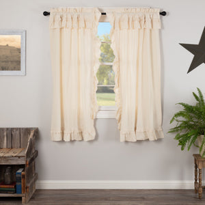 Muslin Ruffled Natural Short Panel Curtains 63""