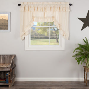 Muslin Ruffled Natural Swag Curtains
